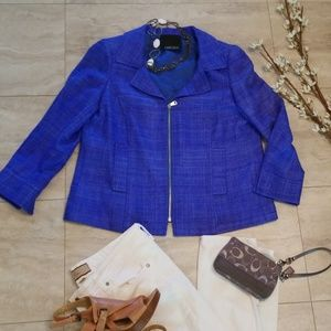 Carlisle royal blue 100% silk zip up jacket/blazer